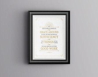 Scripture Art - 2 Corinthians 9:8 - 8 x 10 Printable - Digital Download - White Background