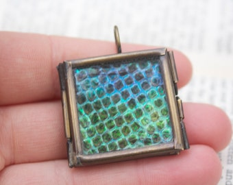 The snake that ate the unicorn real snake skin opal glass soldered square brass pendant