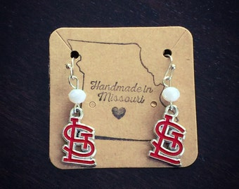 Red STL logo earrings with white bead