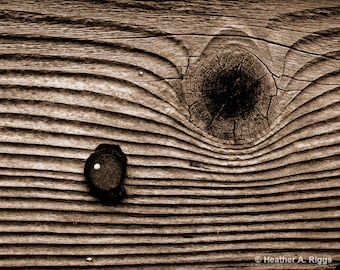 The Knot, Rustic, Weathered, Wood, Grain, Knotted Wood, Abstract, Texture, Brown, Tan, Sepia, photograph