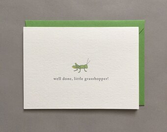 Well Done, Little Grasshopper! / Encouragement / For Kids / You Can Do It / Proud / Congratulations Card / Blank Greeting Card