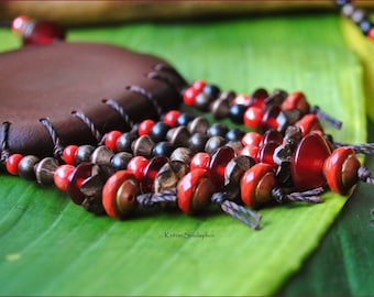 Necklace ethnic big red seed
