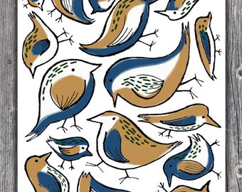 Birds of a Feather - 11 x 14 print (Blue & Yellow)