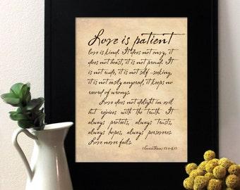 1 Corinthians 13 calligraphy script, English, French or Spanish. Writing Cursive. Vintage Wedding Decor. Unframed.
