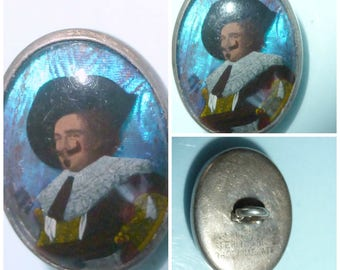 Art Deco Silver Butterfly Wing Button Stud Frans Hals Laughing Cavalier + Gift Box