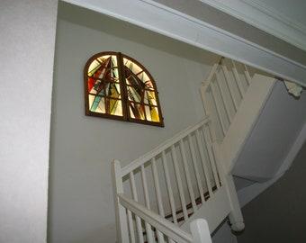 """Tableau Lumineux Vitrail Tiffany Art Contemporain d'inspiration Art Déco """"Fenêtre sur Cour"""""""