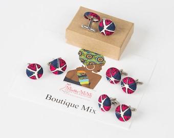 Groom or groomsmen cufflinks handmade from African fabric, Groom gift, Father of the bride gift, Groom cufflinks