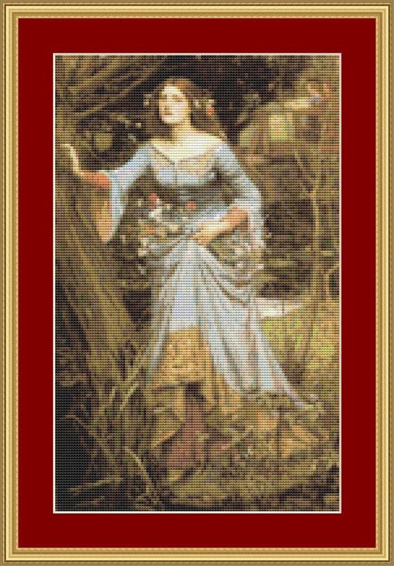 Ophelia Cross Stitch Pattern /Digital PDF Files /Instant downloadable