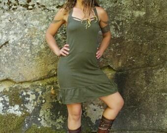 Peekaboo Dress-Womens dresses-unique dress-knee length dress-midi dress-mid length dress-sage green clothes-dress with pockets-strappy dress