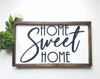 Home Sweet Home Sign, Welcome sign, welcome home, farmhouse style decor, wood sign, front door sign, foyer decor, porch sign, rustic sign