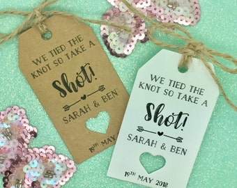 Take a Shot We Tied The Knot Tag, Mini Liquor Bottle Tag, Wedding Favour Tag