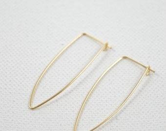 Dagger Hoops, Small Geometric Hoop Earrings