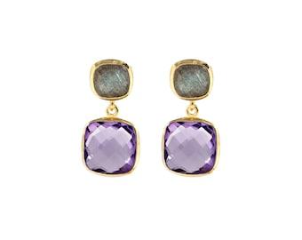 Labradorite and Amethyst Earrings, Gold Earrings, Purple Earrings, Drop Earrings, Ametyst Earrings, Bridal Earrings, Bridesmaid Earrings