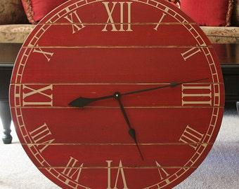 28 Inch Rustic Wall Clock, Large Wall Clock, Distressed Clock, Wooden Clock, Farmhouse Clock, Unique Clock, Oversized Clock, Painted Clock