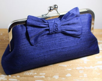 Midnight Blue Silk Dupioni Personalized Bow Clutch - Wedding Clutch - Bridesmaid Clutch - Choice of Colors