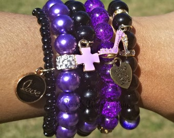 Black and Purple Beaded Bracelet Set, Stretchy, Charm Bracelets, Stack, Women Gifts, Custom Handmade Beaded Jewelry