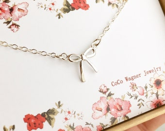 Sterling Silver Bow Necklace, Ribbon Bow Necklace, Choker Bow, Delicate Bow Necklace, Bridesmaid Jewelry, Girlfriend Gift, Best Friend Gift