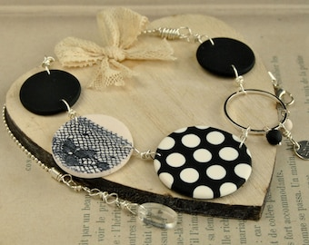 Chic black and white polka dot necklace