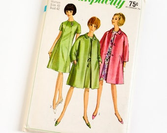 Vintage 1960s Womens Size 40 One Piece Dress and Coat Simplicity Sewing Pattern 6933 FACTORY Folds / b42 w34