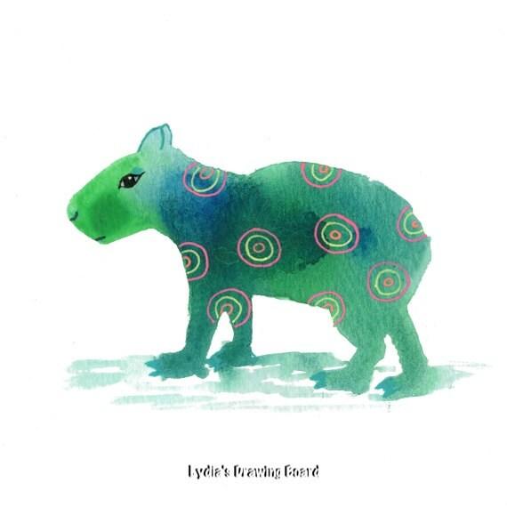 Capybara, Spirit Animal. Animal Art, Animal Artwork, Animal Art Print, Whimsical Art, South American Art, Kids Room Wall Art, Kids Room Art
