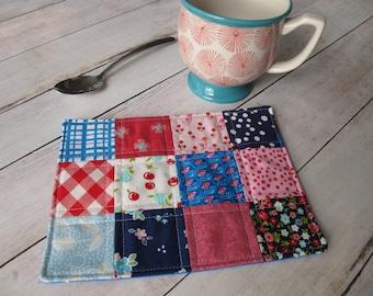 summer mug rug fabric coasters patchwork mini quilt