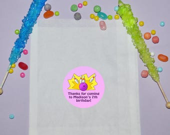 Bowling Birthday Favor Bags, Personalized Treat Bags, Bowling Birthday Party Favors, Bowling Party Bags, Treat Favor Bags