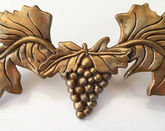 Grapes Architectural Element /  Drapery Swag Hardware / Gold Metal Grapes / Window Treatment / Hollywood Regency