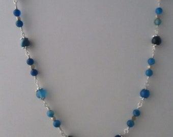 Blue Striped Agate Necklace