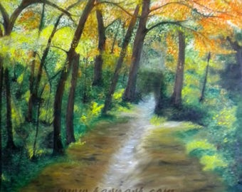 Huge original woodland oil painting on canvas of a walk in the woods