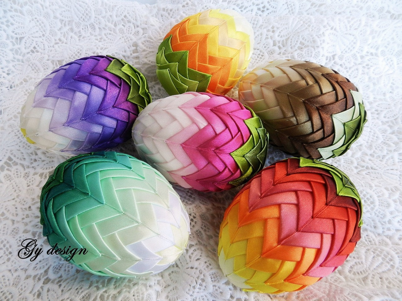 Ombre Easter Egg Decoration Quilted Ornaments Ornament Egg