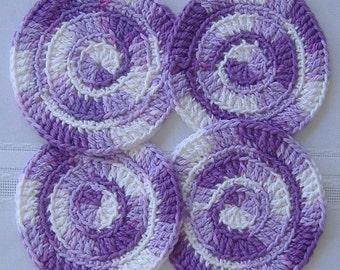 cotton round coasters, 4 purple coaster set, cotton coasters, crochet coaster, purple cotton coasters, purple housewares kitchen, barware