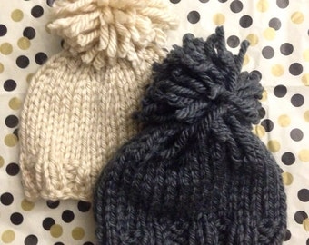 Toddler oversized  pom pom hat