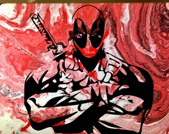Deadpool Acrylic Abstract Painting-One of a Kind!