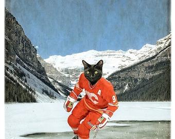 """Calgary Flames Print Hockey Art Calgary Alberta Print Cat Print Black Cat Art Lake Louise Hockey Gifts - """"Cat""""gary Flames"""