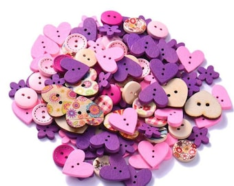 10 buttons in mixed wood in pink and purple colors