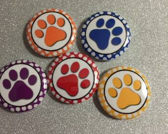15 colorful rainbow  paw print Craft Flat Back Embellishment Buttons