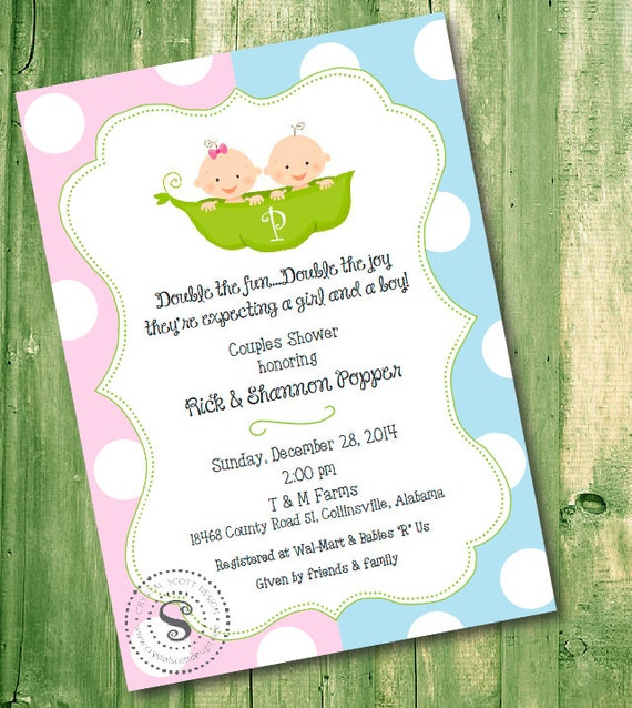 Twin baby shower invitation 2 peas in a pod printable baby filmwisefo