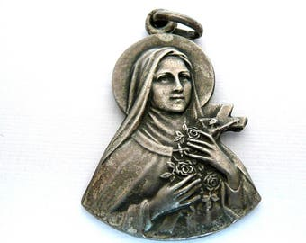 Vintage French Saint Therese Medal