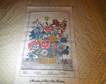 ON SALE  Beautiful Linen Tea Towel on a Dowel for Hanging from Boston Museum of Fine Arts