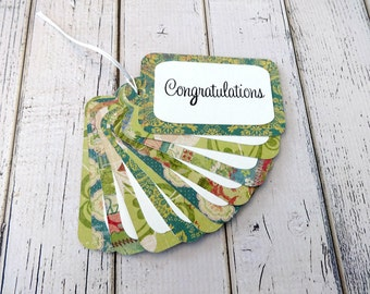 Gift Tags, Gift Tag Set, Assorted Gift Tags, Paper Tags, Congratulations Tags, Hanging Tags, Set of 12 Tags, 12 Large Tags, Congratulations