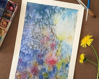 Abstract Florals Watercolor, Original Watercolor Painting, A5, Wall Art, Botanical Art, Abstract Flowers Painting, christmas gift