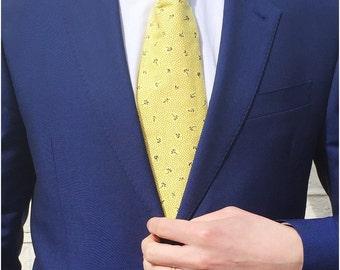 The Hayward Tie / Wedding Tie / Groomsman Tie / Mens Cotton Tie / Yellow Tie