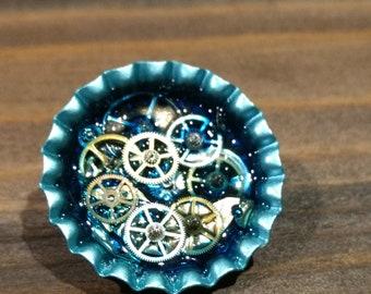 Ice Blue Steampunk Bottle Cap Pin :  Real Watch Gears