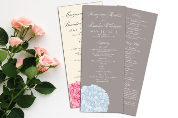 Hydrangea Wedding Program