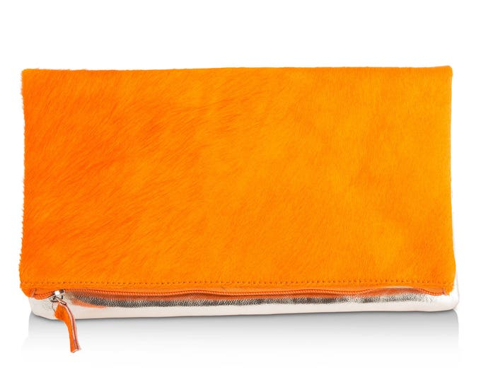 Leather Clutch Bag in Orange Hair on Hide/ Metallic Gold