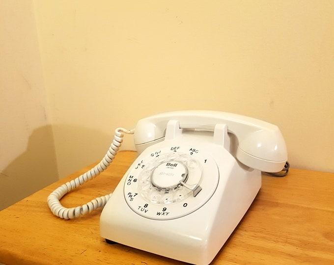 1980s White Rotary Dial Phone