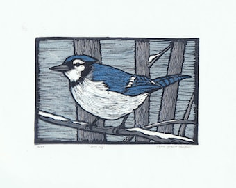 Blue Jay Reduction Block Print