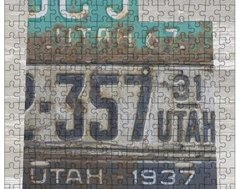 Utah Jigsaw Puzzle   Vintage License Plate Art   State Outline   Fun Puzzle