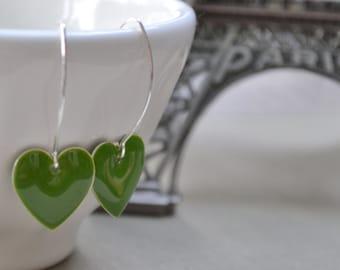 Green Heart Earrings, Enamel Sterling Silver, Grass Green Heart, Simple Earrings, Bridesmaid Gift