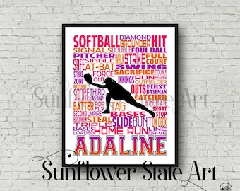 Personalized Softball Gift, Softball Poster, Softball Team Gift, Softball Coach, Softball Custom, Softball Print, Typography, Catcher